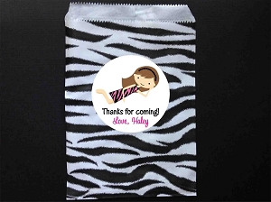 Pajama PJ Party Favor Bags and Personalized Stickers