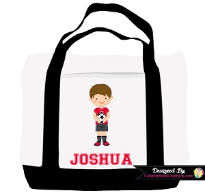 Monogrammed Boy Soccer Player Tote Bag - Personalized with Name