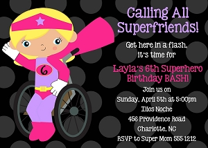 Special Needs Wheelchair Superhero Birthday Party Invitations - Printable or Printed