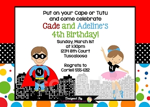 Superhero Ballerina Birthday Invitation for Twins or Siblings