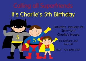 Superhero Birthday Invitations for Boys and Girls