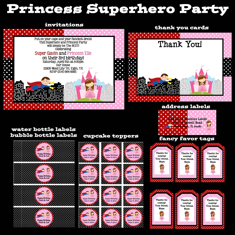 Superhero Princess Printable Party Package - Invitations - Party ...