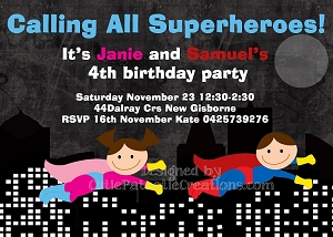 Twins or Sibling Superhero Birthday Invitations - Printable or Printed