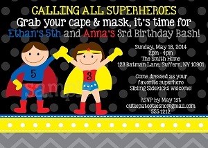 Superman Wonder Woman Birthday Party Invitations for Twins or Siblings - Printable or Printed