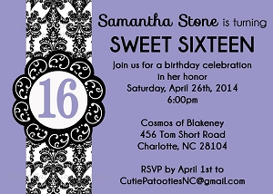 Purple & Black Sweet 16 Invitations - Quinceanera Invitations