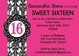 Hot Pink & Black Sweet 16 Invitations - Quinceanera Invitations