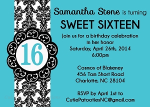 Teal Blue & Black Sweet 16 Birthday Invitations - Quinceanera Invitations