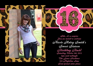 Leopard Print Sweet 16 Invitations - Quinceanera Invitations