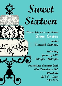 Tiffany Blue Sweet 16 Sixteen Birthday Invitations - Quinceanera Invitations