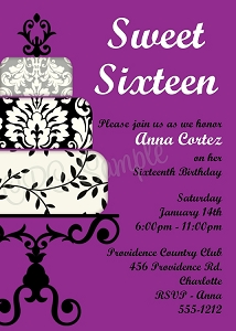 Purple & Black Sweet 16 Birthday Invitations - Quinceanera Invitations