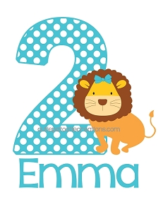 Personalized Girl Lion Birthday T-Shirt or Onesie - Turquoise Teal Blue Dots