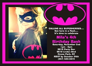 Pink Batgirl Birthday Party Invitation with Photo