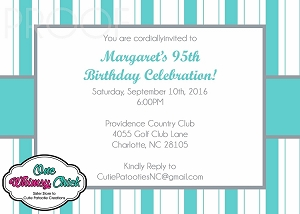 Tiffany Blue and Grey Stripes Invitations - Can be customized for any event
