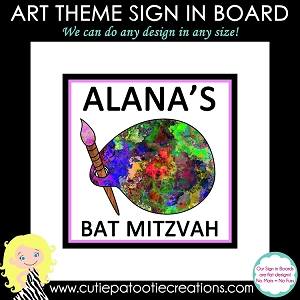 Paint Palette Art Theme Bat Mitzvah Sign in Board