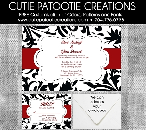 Black and White Damask Wedding Invitations with Red - Custom Colors Available