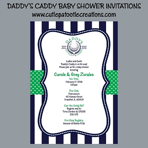 Golf Theme Daddy's Little Caddy Baby Shower Invitations