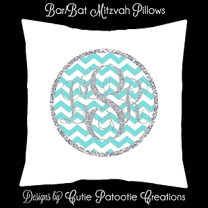Tiffany Blue and Silver Monogram Bat Mitzvah Lounge Pillow or Bat Mitzvah Sign in Pillow