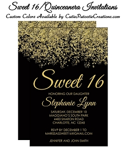 Black & Gold Faux Glitter Sparkle Sweet 16 Birthday Party Invitations - Quinceanera Invitation