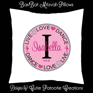 Live Love Dance Lounge Furniture Pillow - Bat Mitzvah Sign in Pillow