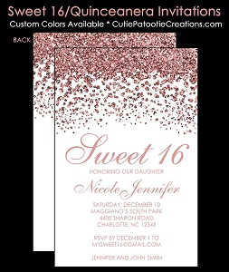 Modern Rose Gold FAUX Glitter Sweet 16 Birthday Invitations, Quinceanera Invitation