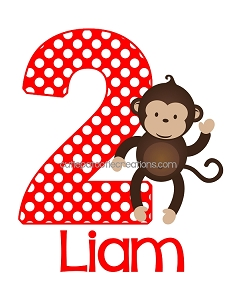 Personalized Monkey Birthday T-Shirt or Onesie on Red and Brown