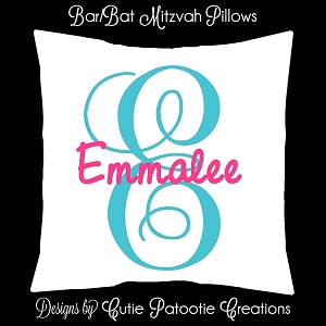 Bar and Bat Mitzvah Lounge Pillows and Sign in Pillow with your Custom Colored Initials and Name