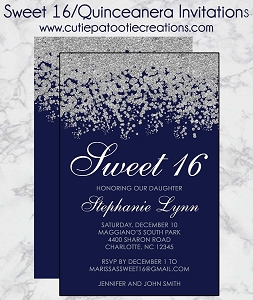 Navy Blue and Silver Sweet 16 Invitations - Quinceanera Invitation