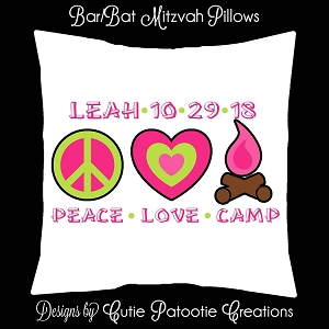 Camp Themed Sign in Pillow or Lounge Furniture Pillow for Bar or Bat Mitzvah, Camp BFF