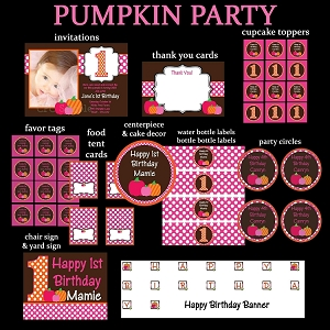 Girl Pumpkin Printable Party Package - Invitations - Party Decorations - Party Supplies