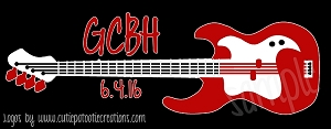 Rock and Roll Guitar Themed Bar Mitzvah Logo - Custom Colors Available