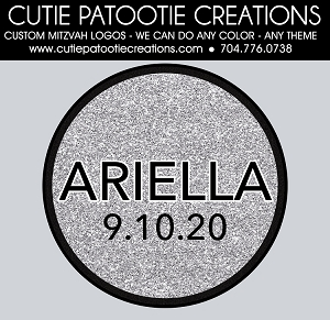Silver and Black Glitter Bat Mitzvah Logo - Custom Colors Available