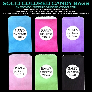 Candy Station Candy Buffet Bags in Solid Colors with Customizable Stickers