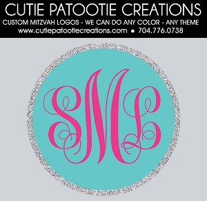 Monogram Initials Logo - Teal and Hot Pink - Custom Colors Available