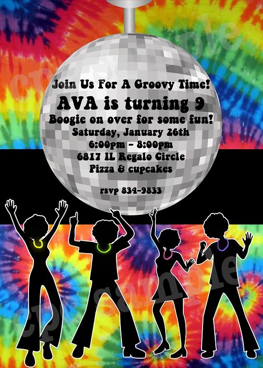 tie dye disco invitation