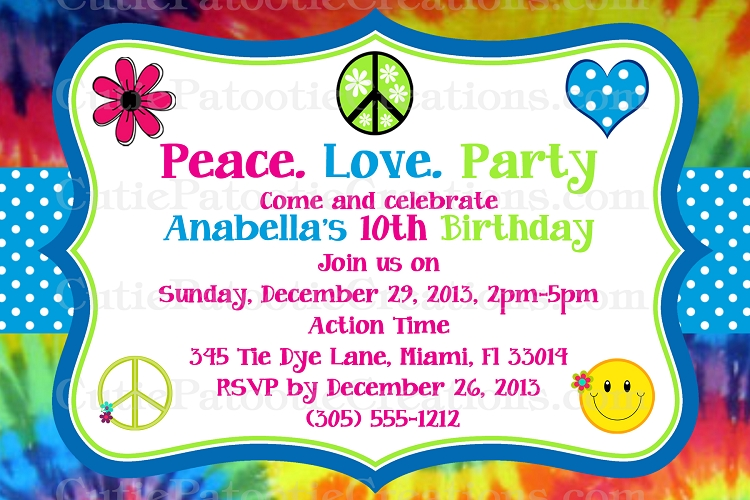 tie dye hippie chick birthday party invitations printable or printed