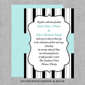 Tiffany Blue, Black and White Wedding Invitations - Bridal Shower Invitation