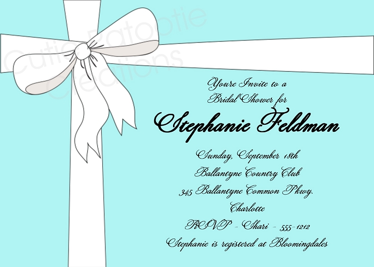 Tiffany Blue Bridal Shower Invitation Wedding Invitations – Blue Birthday Invitations
