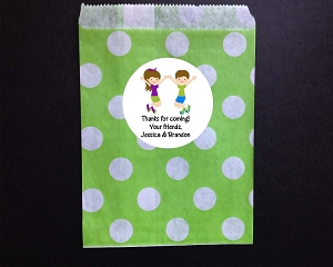 Trampoline Jumping Party Favor Bags and Personalized Stickers