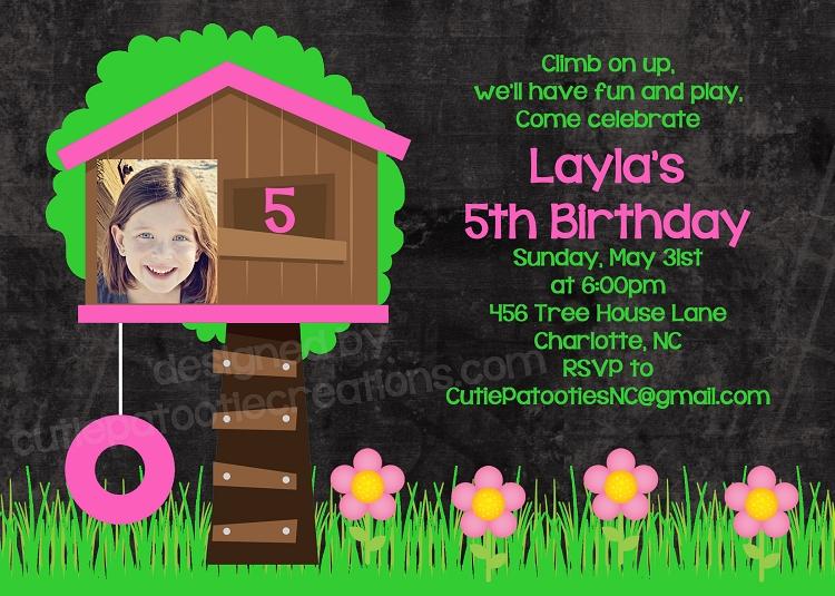 tree house birthday invitation