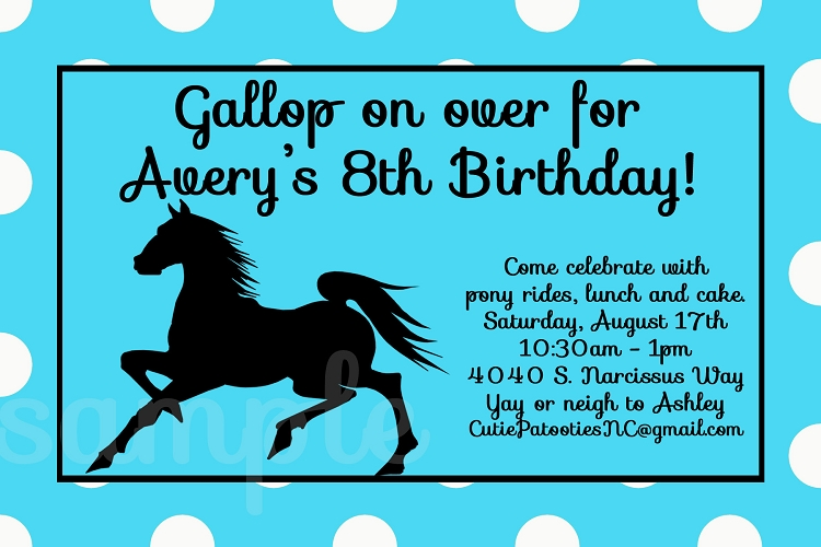 Cowgirl and Cowboy Themed Birthday Party Invitations – Horse Party Invitations