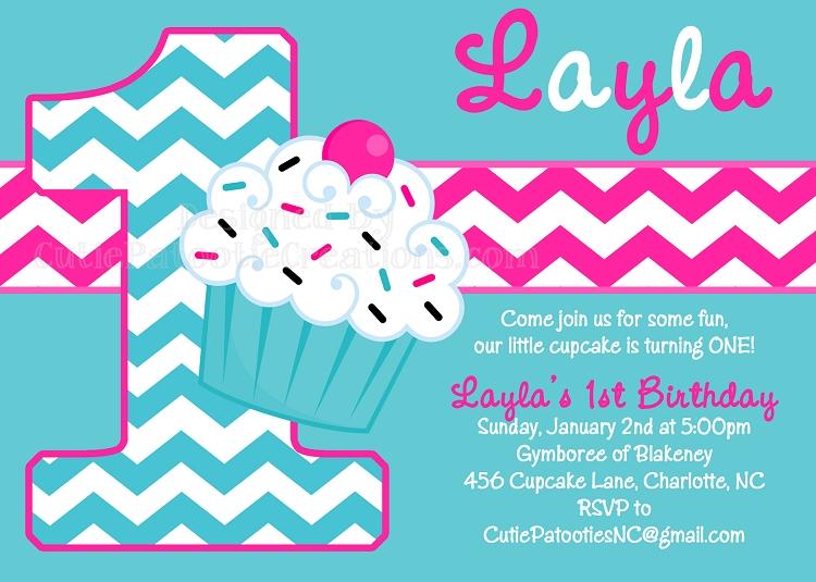Turquoise Chevron Cupcake Invitations