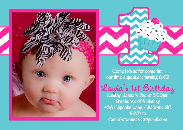 Hot pink chevron cupcake invitations hot pink turquoise cupcake 1st birthday chevron invitation any age filmwisefo Gallery
