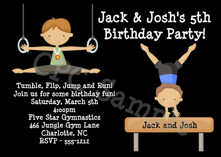Gymnastic Party Invites is amazing invitation layout