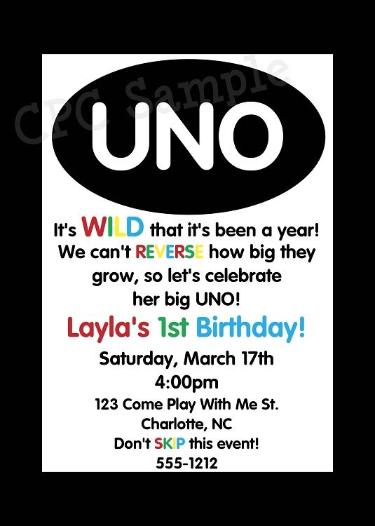 Uno 1st Birthday Invitations