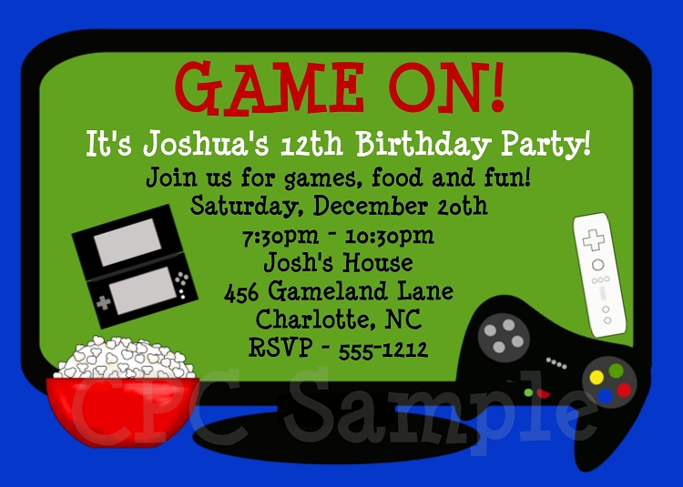 Video game birthday party invitation stopboris Choice Image