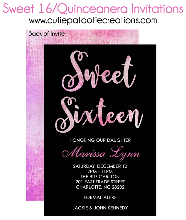 pink watercolor sweet 16 invitations  quinceanera