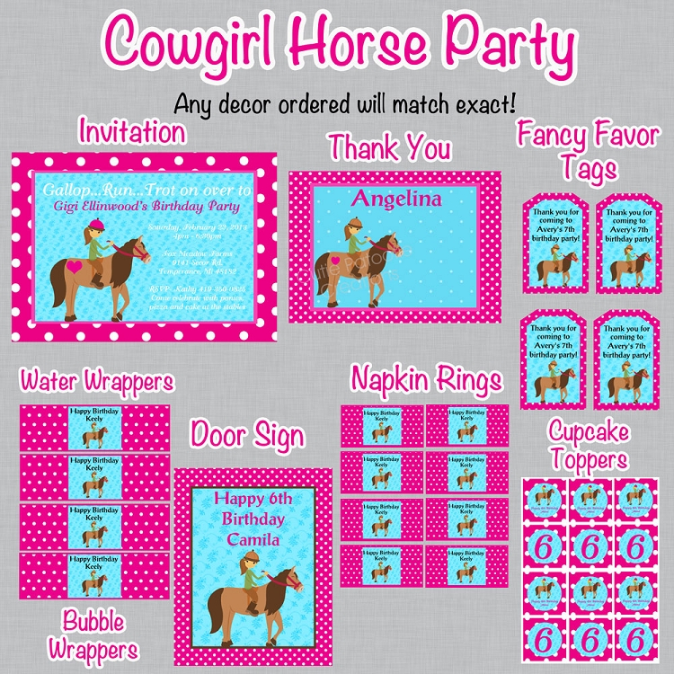 Cowgirl Birthday Invitation Printable or Printed