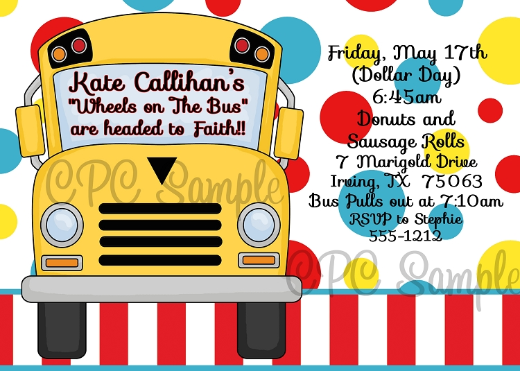Wheels On The Bus Birthday Party Invitations Printable Or Printed