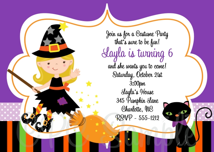 Witch Birthday Invitations Halloween Party Invitations - Halloween birthday invitations party