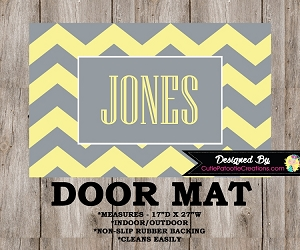 Monogrammed Yellow and Grey Chevron Door Mat